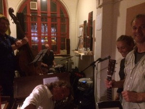 Rehearsing for the recordings